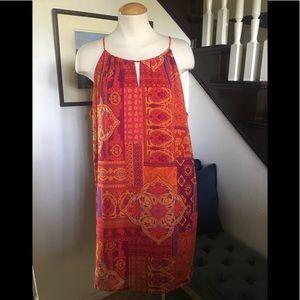 Orange Lined Shift Summer Dress sz 14